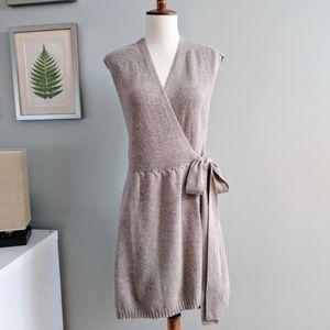 Sparrow Taupe Wrap Sweater Vest Dress M